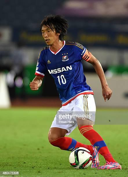 Shunsuke Nakamura of Yokohama FMarinos in action during the JLeague match between Yokohama FMarinos and Montedio Yamagata at Nissan Stadium on July...