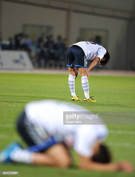 Shunsuke Nakamura of Yokohama FMarinos looks dejected after the JLeague match between Kawasaki Frontale and Yokohama FMarinos at Todoroki Stadium on...