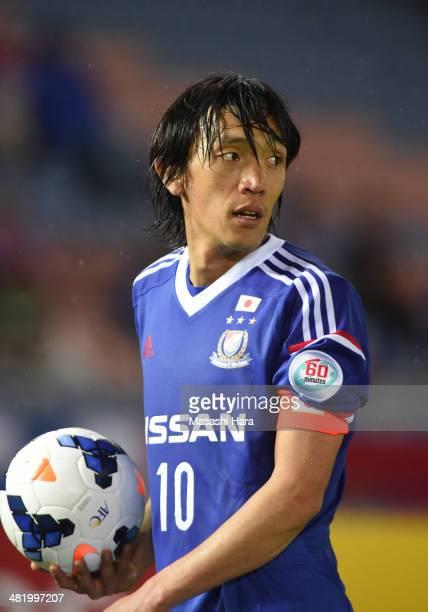 Shunsuke Nakamura of Yokohama FMarinos looks on during the AFC Champions League Group G match between Yokohama FMarinos and Melbourne Victory at...