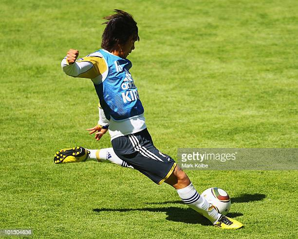 Shunsuke Nakamura shoots at goal during a practice match between Japan XI and Sion XI as part of Japan training on May 31 2010 in St Niklaus...