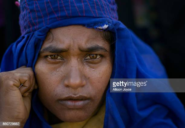COX'S BAZAR BANGLADESH SEPTEMBER 21 Shunwara Begum waits for aid in the Balukhali Rohingya refugee camp on September 21 2017 in Cox's Bazar...