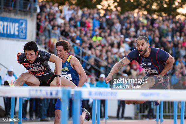 Shunya Takayama of Japan and Garfield Darien of France competes in 110m hurdles during the DecaNation 2017 on September 9 2017 in Angers France