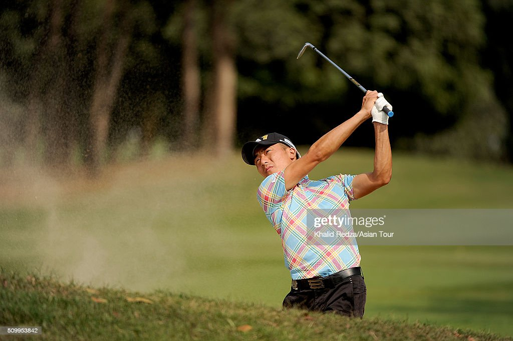 Shunya Takeyasu of Japan plays a shot during round four of the Bashundhara Bangladesh Open at Kurmitola Golf Club on February 13, 2016 in Dhaka, Bangladesh.
