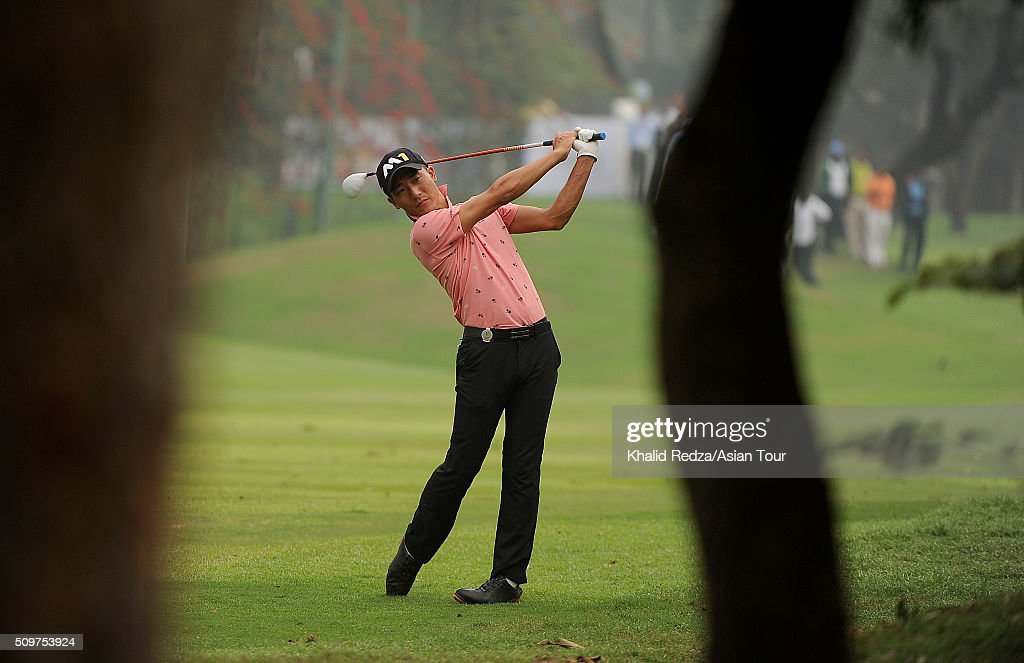 Shunya Takeyasu of Japan plays a shot during round three of the Bashundhara Bangladesh Open at Kurmitola Golf Club on February 12, 2016 in Dhaka, Bangladesh.