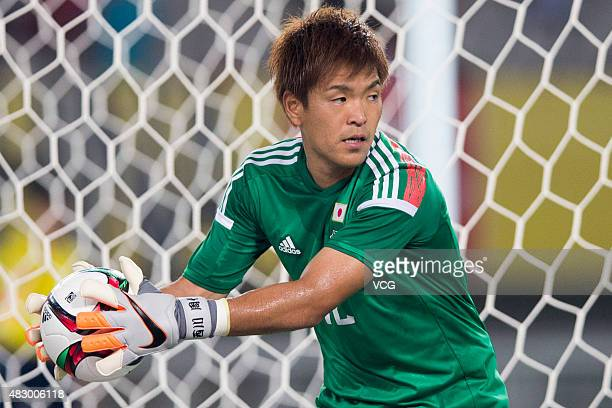 Shusaku Nishikawa of Japan holds the ball in group match between Japan and South Korea during EAFF East Asian Cup 2015 at Wuhan Sports Center Stadium...
