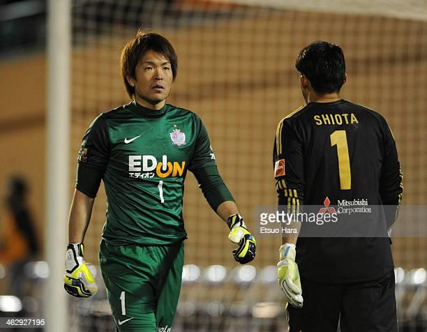 Shusaku Nishikawa of Sanfrecce Hiroshima and Hitoshi Shiota of FC Tokyo are seen at the penalty shootout during the 93rd Emperor's Cup semifinal...