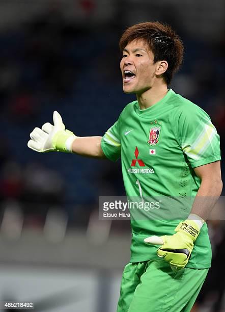 Shusaku Nishikawa of Urawa Red Diamonds gestures during the AFC Champions League Group G match between Urawa Red Diamonds and Brisbane Roar at...