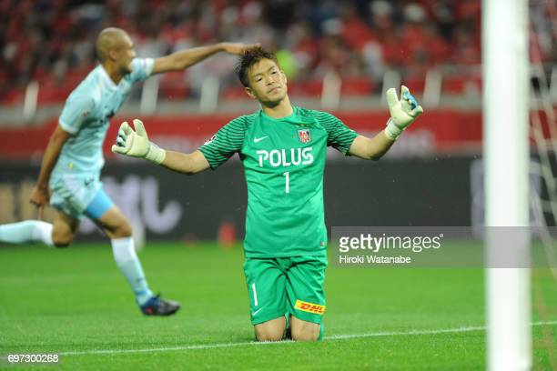 Shusaku Nishikawa of Urawa Red Diamonds gestures during the JLeague J1 match between Urawa Red Diamonds and Jubilo Iwata at Saitama Stadium on June...