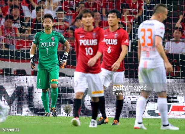 Shusaku Nishikawa of Urawa Red Diamonds looks on after Omiya Ardija's second goal during the JLeague J1 match between Urawa Red Diamonds and Omiya...