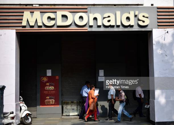 A shut McDonald's outlet at Janpath on August 21 2017 in New Delhi India McDonald's snapped its franchise agreement with Connaught Plaza Restaurants...