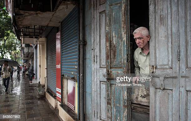 Shutdown shops at Dadar during protest by Ambedkar's grand son's against demolition of the iconic Ambedkar Bhavan near Dadar on June 28 2016 in...
