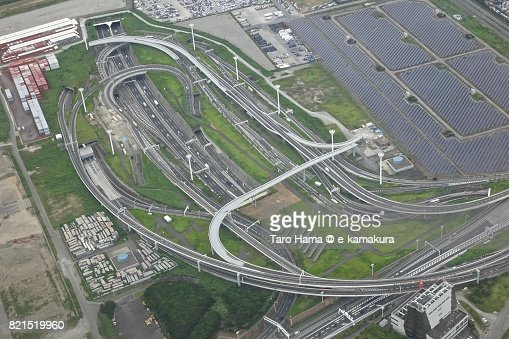 Shuto Expressway in Kawasaki city in Kanagawa prefecture daytime aerial view from airplane : ストックフォト
