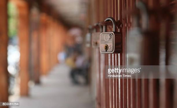 Shuttered shops during the nationwide shutdown to protest GST at Kishanpole Bazar on June 30 2017 in Jaipur India The traders said they were not...