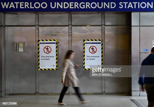 Shutters are closed at Waterloo station as a tube strike takes place on August 6 2015 Millions of Londoners were forced to walk cycle or take packed...