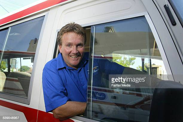 Shuttle bus driver for the Grand Prix Garry Higginson at the track in Albert Park Melbourne 24th February 2005 AGE NEWS Picture by PAUL HARRIS