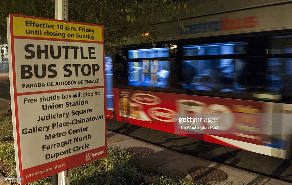 A shuttle bus left the NoMa Station after during the shut down of a major section of the Red Line on Friday, October 04, 2013 in Washington, DC.