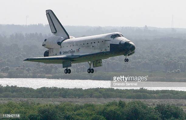 Shuttle Discovery lands safely Wednesday November 7 2007 at the Kennedy Space Center in Florida after a 7 member crew returned to Earth today and...
