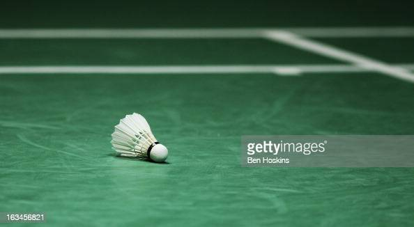 A shuttlecock is seen on the court in between games during Day 6 of the Yonex All England Badminton Open at NIA Arena on March 10 2013 in Birmingham...