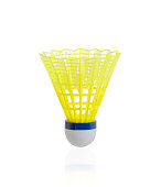 Yellow badminton shuttlecock isolated on white background