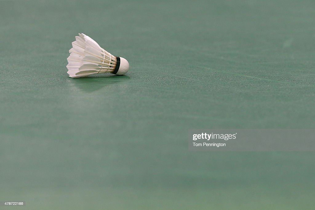 A shuttlecock lays on the court in the Men's Singles semi finals during day fifteen of the Baku 2015 European Games at at Baku Sports Hall on June 27...