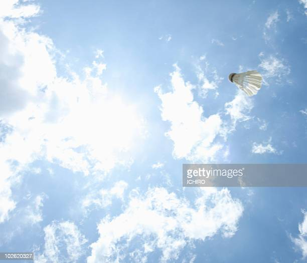 Shuttlecock of badminton in the sky.