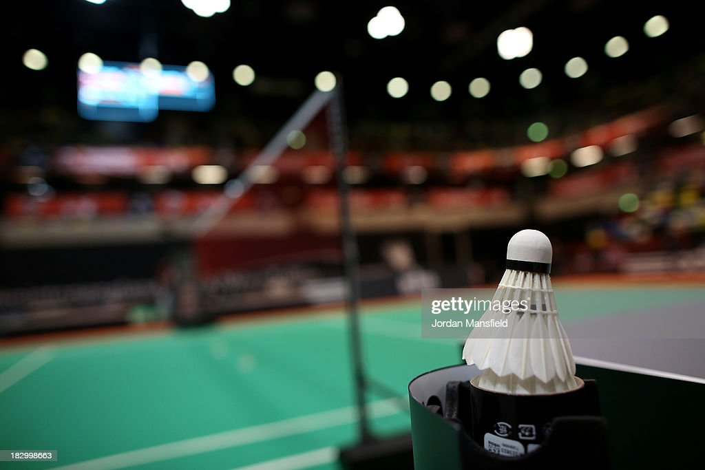 A shuttlecock sits after play on Day 3 of the London Badminton Grand Prix at The Copper Box on October 3, 2013 in London, England.