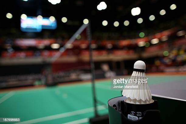 A shuttlecock sits after play on Day 3 of the London Badminton Grand Prix at The Copper Box on October 3 2013 in London England