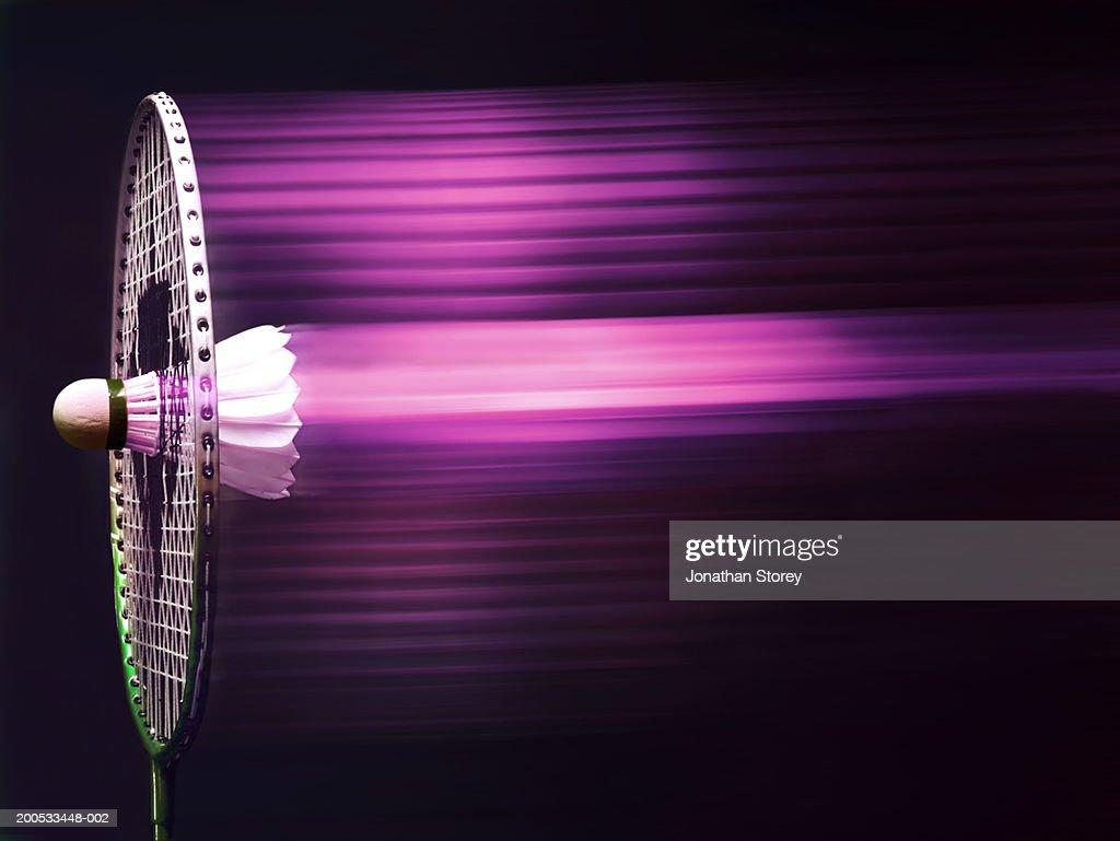 Shuttlecock stuck in racquet,  (digital composite)