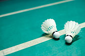 Shuttlecocks on badminton playing court