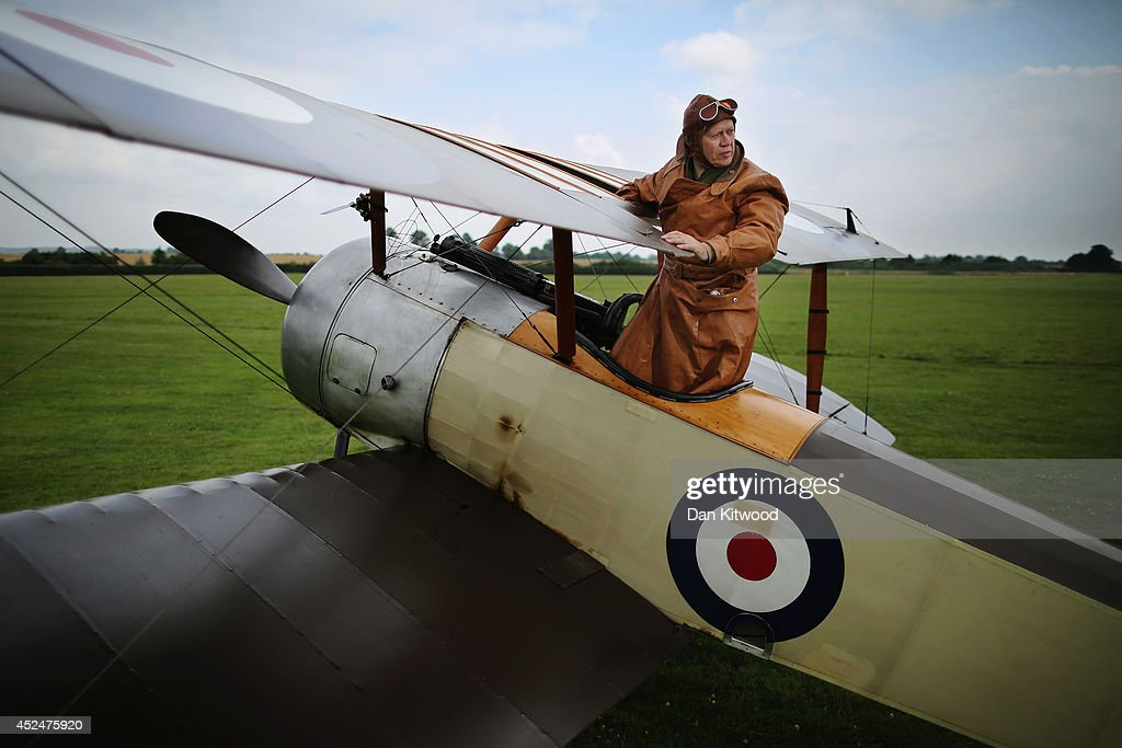 Shuttleworth Collection Pilot Rob Millinship, poses with a Sopwith Pup during a photocall at 'The Shuttlesworth Collection' on July 21, 2014 in Biggleswade, England. Of the 55,000 planes that were manufactured by the Royal Army Corps (RAC) during WWI, only around 20 remain in airworthy condition. Six of these belong to The Shuttleworth Collection at Old Warden, Bedfordshire, making it the most complete collection of original airworthy WWI aircraft in the world. Amongst the collection is the SE5a. The SE5a is a single seater fighter aircraft. It is an original biplane designed by the Royal Aircraft Factory, with its engine built by Wolseley Motors Ltd, and it was issued to 84 Squadron in November 1918. The National Archive in Kew has recently verified that the plane saw action in France with 84 Squadron the day before Armistice, November 10, 1918.