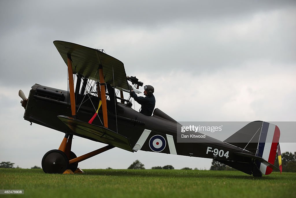 Shuttleworth Collection Pilot Rob Millinship steps out of a SE5a after a demonstration flight at 'The Shuttlesworth Collection' on July 21, 2014 in Biggleswade, England. Of the 55,000 planes that were manufactured by the Royal Army Corps (RAC) during WWI, only around 20 remain in airworthy condition. Six of these belong to The Shuttleworth Collection at Old Warden, Bedfordshire, making it the most complete collection of original airworthy WWI aircraft in the world. Amongst the collection is the SE5a. The SE5a is a single seater fighter aircraft. It is an original biplane designed by the Royal Aircraft Factory, with its engine built by Wolseley Motors Ltd, and it was issued to 84 Squadron in November 1918. The National Archive in Kew has recently verified that the plane saw action in France with 84 Squadron the day before Armistice, November 10, 1918.