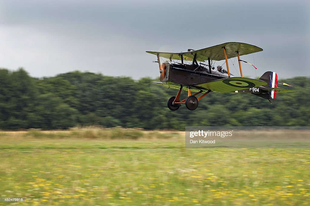 Shuttleworth Collection Pilot Rodger 'Dodge' Bailey, takes off in the SE5a for demonstration flight at 'The Shuttlesworth Collection' at Old Warden on July 21, 2014 in Biggleswade, England. Of the 55,000 planes that were manufactured by the Royal Army Corps (RAC) during WWI, only around 20 remain in airworthy condition. Six of these belong to The Shuttleworth Collection at Old Warden, Bedfordshire, making it the most complete collection of original airworthy WWI aircraft in the world. Amongst the collection is the SE5a. The SE5a is a single seater fighter aircraft. It is an original biplane designed by the Royal Aircraft Factory, with its engine built by Wolseley Motors Ltd, and it was issued to 84 Squadron in November 1918. The National Archive in Kew has recently verified that the plane saw action in France with 84 Squadron the day before Armistice, November 10, 1918.