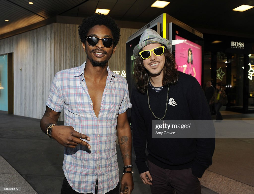 Shwayze and Cisco Adler perform in the Plaza at Santa Monica Place on January 1 2012 in Santa Monica California