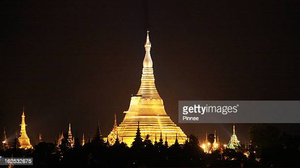 Shwedagon Pagoda at night, Yangon, Burma