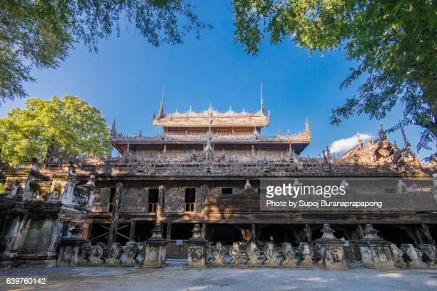shwenandaw paya wooden statue temple in mandalay , myanmar