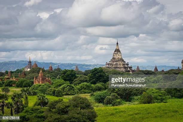 Shwesandaw pagoda and temples in cloudy day, Bagan ancient city, Mandalay