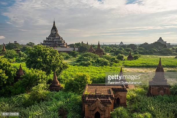 Shwesandaw pagoda and temples in the morning, Bagan ancient city, Mandalay