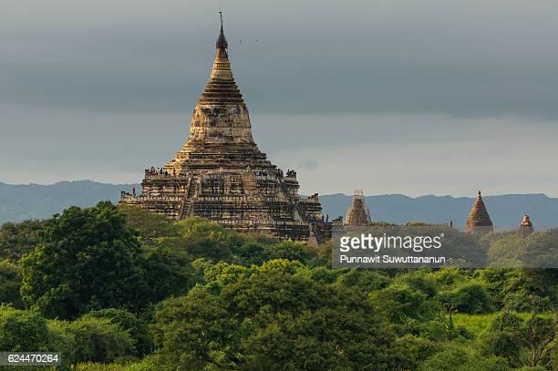 Shwesandaw pagoda landmark of Bagan at sunset, Bagan, Mandalay