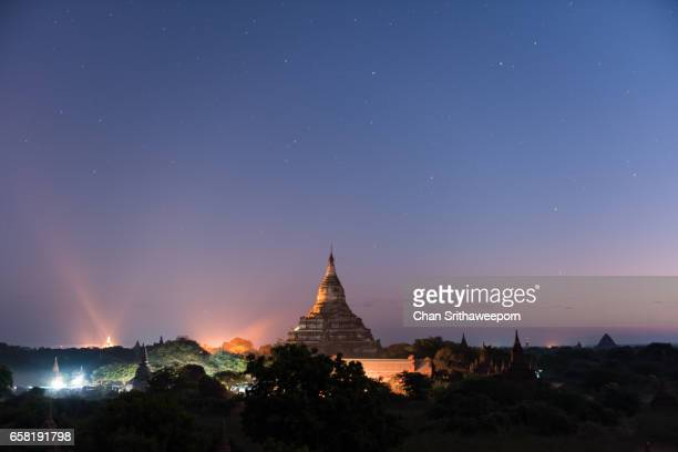Shwesandaw pagoda landmark of Bagan before sunrise, Bagan, Mandalay