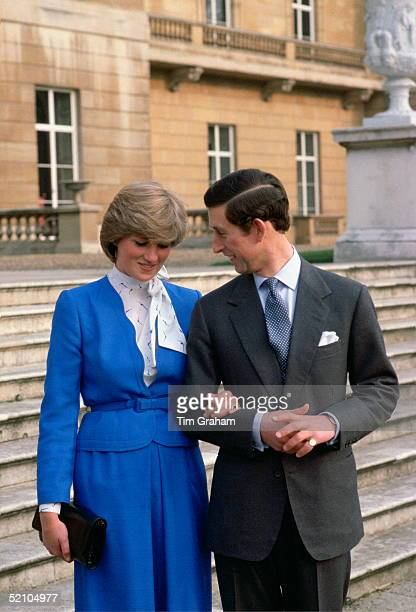 Shy Lady Diana Spencer With Her Fiance Prince Charles On The Steps Of Buckingham Palace For A Photocall On The Day They Announced Their Engagement