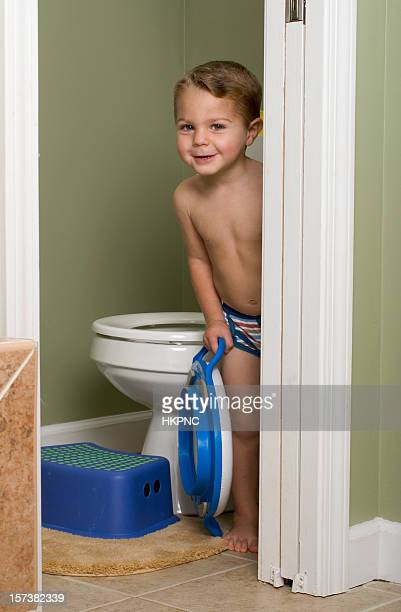 Shy Potty Training Toddler In The Bathroom