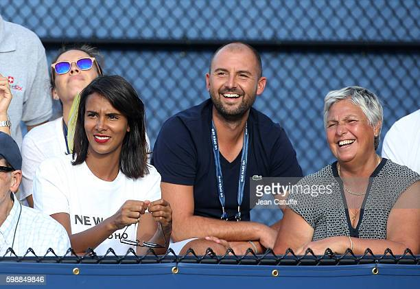 Shy'm and Benoit Paire's mother Eliane Paire attend his doubles match on day 5 of the 2016 US Open at USTA Billie Jean King National Tennis Center on...
