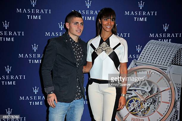 Shy'm and Marco Verratti attend the 'Maserati Time' Cocktail Party at Rond Point Des Champs Elysees on October 22 2015 in Paris France