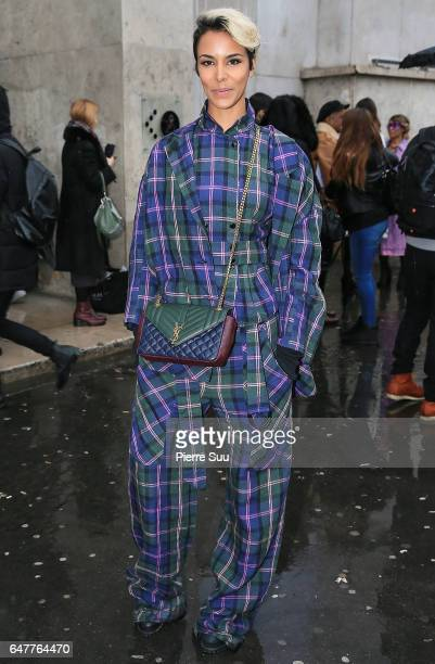 Shy'm arrives at the Veronique Leroy show as part of the Paris Fashion Week Womenswear Fall/Winter 2017/2018 on March 4 2017 in Paris France