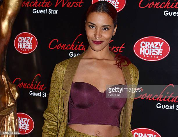 Shy'm attends the Conchita Wurst Crazy Horse Show Red Carpet Arrivals In Paris At the Crazy Horse Saloon on November 9 2014 in Paris France