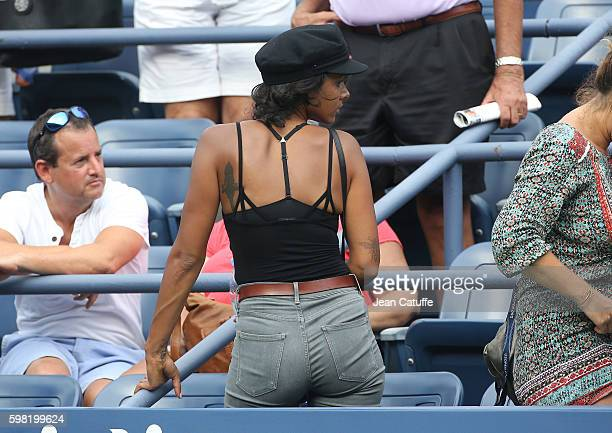 Shy'm attends the defeat of Benoit Paire of France in 4 sets in the second round on day 3 of the 2016 US Open at USTA Billie Jean King National...