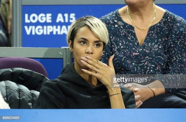 Shy'm attends the match of Benoit Paire of France on day 6 of the Open Sud de France an ATP Tour 250 tournament at Arena Montpellier on February 11...