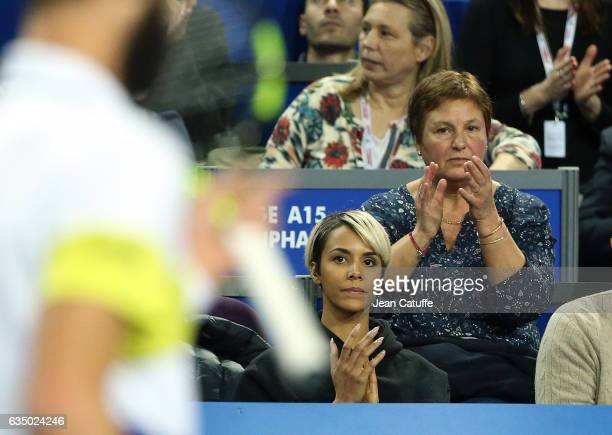 Shy'm Eliane Paire his mother attend the match of Benoit Paire of France on day 6 of the Open Sud de France an ATP Tour 250 tournament at Arena...