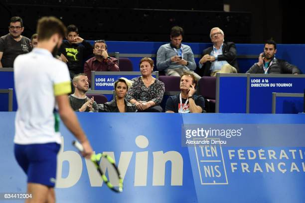 Shym French Singer and Girlfriend and Thierry Champion Coach of Benoit Paire and Benoit Paire during the Open Sud de France on February 9 2017 in...