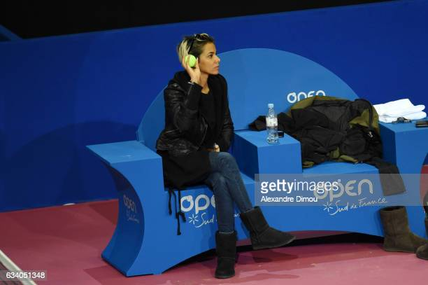 Shy'm girlfriend of Benoit Paire during training session of the Open Sud de France on February 6 2017 in Montpellier France